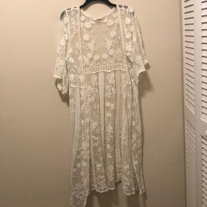 White sheer kimono